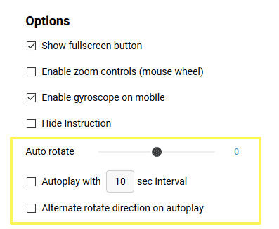 Autoplay and auto rotate settings in export editor on Kuula