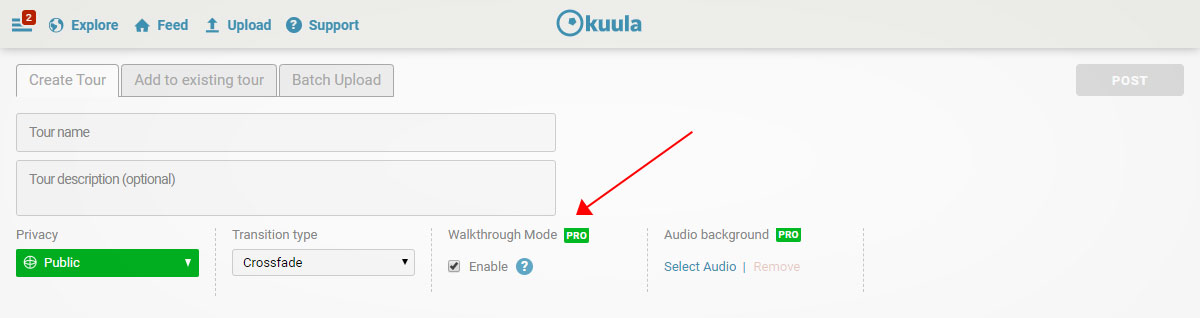 Walk-through mode checkbox