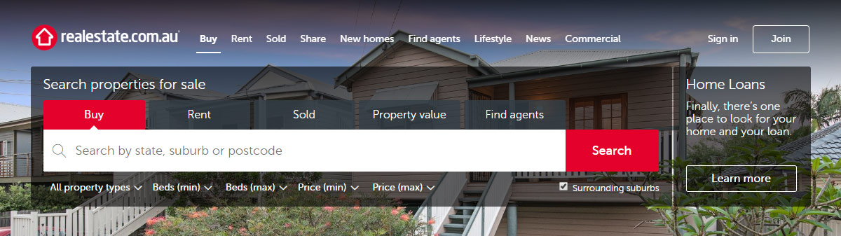 realestate.com.au website
